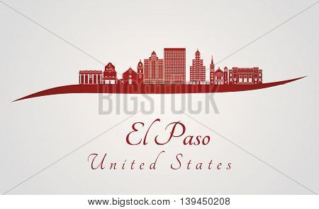 El Paso skyline in red and gray background in editable vector file