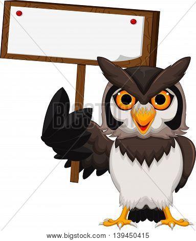 cute owl cartoon holding a blank board