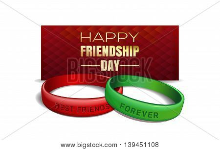 International Friendship Day design. Red and green wristbands with text Best Friends Forever on the background of a greeting card. Vector illustration