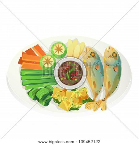 Thai tuna fried and shrimp paste with steamed vegetable.