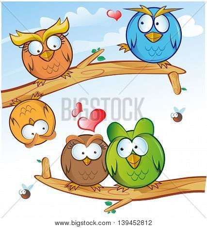 funny owl group cartoon on tree with sky background