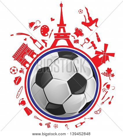 soccer ball with france symbol set on white background