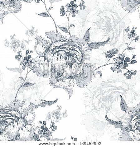 Roses. Vector seamless floral pattern. Garden flower rose. Flower Illustration - template design luxury packaging textile paper. Branch leaves flowers on white background. Black and white.