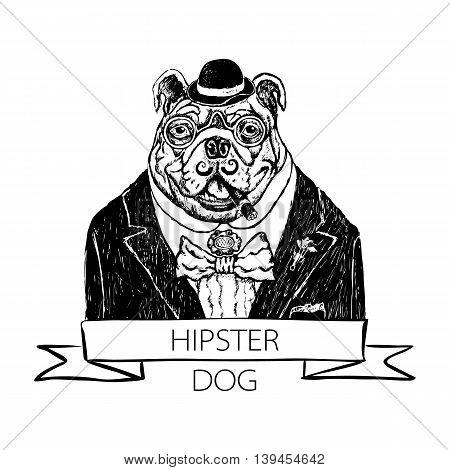 Vector Illustration Head Ferocious Bulldog Mascot, On A White Background Vector