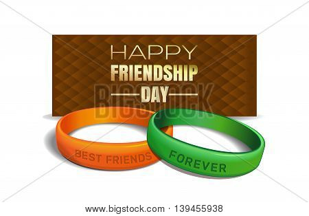 International Friendship Day design. Yellow and green wristbands with text