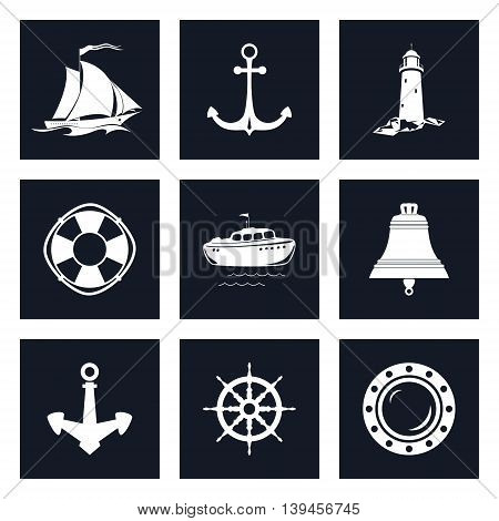 Set of Marine Icons, Sailing Vessel and Anchor, Ship Wheel and Lifebuoy, Lifeboat and Porthole, Ship Bell and Lighthouse ,Nautical Symbol, Ship Equipment ,Vector Illustration