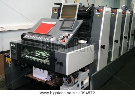 The new polygraphic machine in a modern printing house poster
