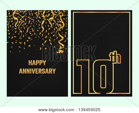 Vector Illustration of Anniversary 10th Outline for Design, Website, Background, Banner. Jubilee silhouette Element Template for festive greeting card. Shiny gold Confetti celebration