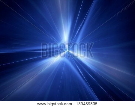 Blue glowing interstellar jump in space computer generated abstract background