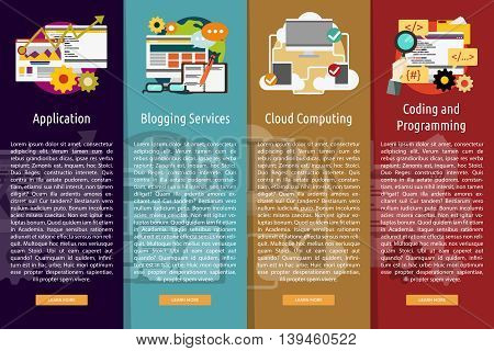 SEO and Development Vertical Banner Concept | Set of great vertical banner flat design illustration concepts for search engine optimization, development , marketing, advertising and much more.