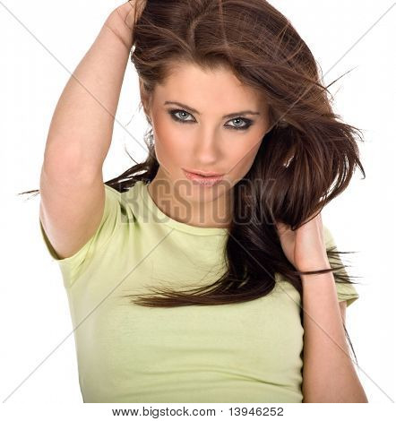 Portrait of sexy young woman isolated on white background