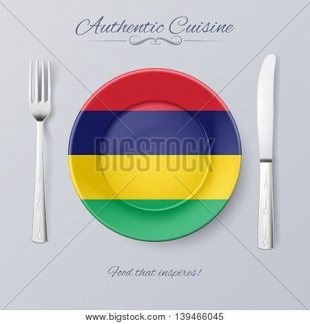 Authentic Cuisine of Mauritius. Plate with Mauritian Flag and Cutlery