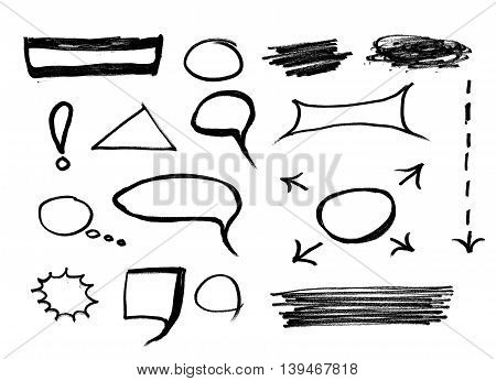 Set of hand drawn text correction elements. Arrows pointing in different directions. Underlines, highlights objects and speech bubbles. Red signs isolated on white background.