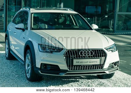 Munich Germany - May 6 2016: New contemporary A4 allroad quattro sports 4x4 SUV from Audi. Outdoor filtered and toned stock photo was captured in a public place with free access.