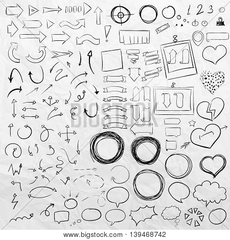 Hand drawn sketch elements. Arrows, pointers, frames, speach bubbles and stripes, ribbons, hearts and round frames in one set.
