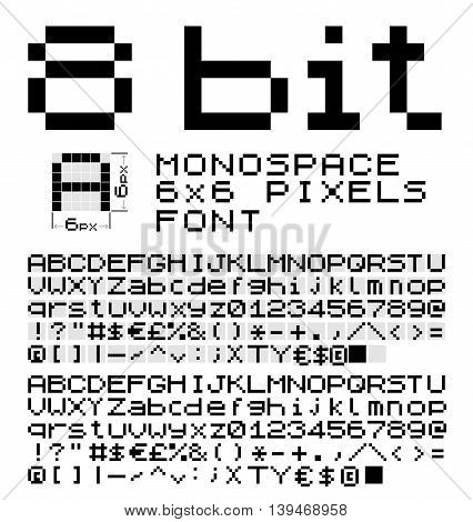 8 bit monospace font 6x6 pixels on glyph. Vector set of alphabet, numbers and symbols