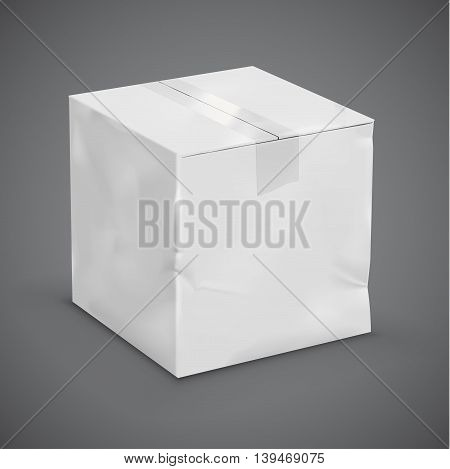 White worn parcel box with a duct tape. Vector illustration