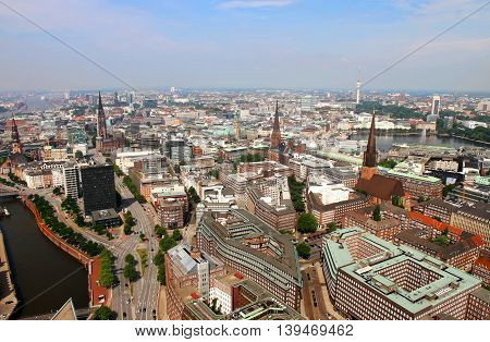 Aerial view of the city of Hamburg in Germany.