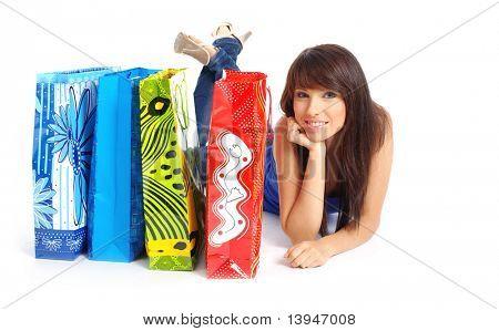 isoliert Schuss eine glückliche Frau mit Einkaufstüten Stock