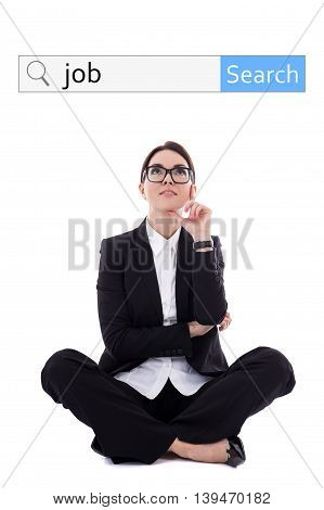 Job Search Concept - Search Bar And Beautiful Happy Business Woman Dreaming About New Job Isolated O