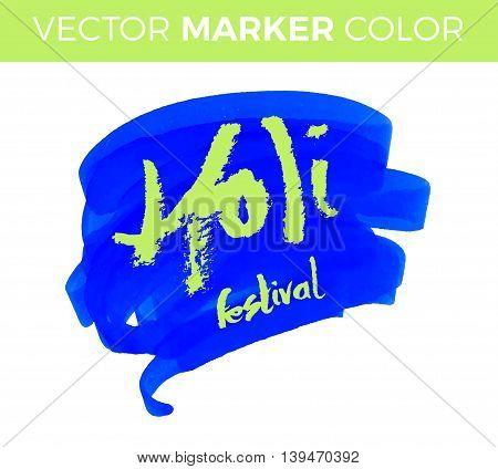 Holi lettering pink. Hand written Holi poster. Modern hand lettering. Holi. Vector illustration