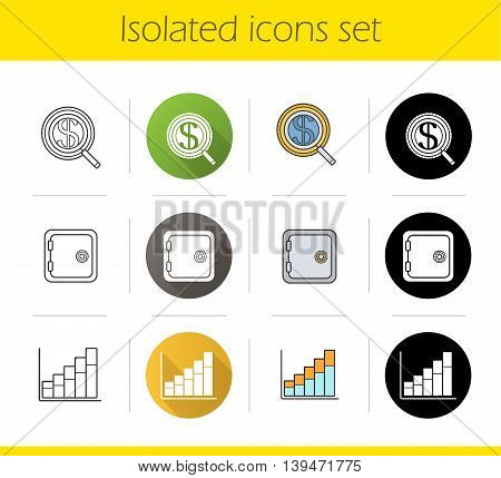 Banking and finance icons set. Flat design, linear, black and color styles. Investments search, safe deposit box, income growth chart. Isolated vector illustrations