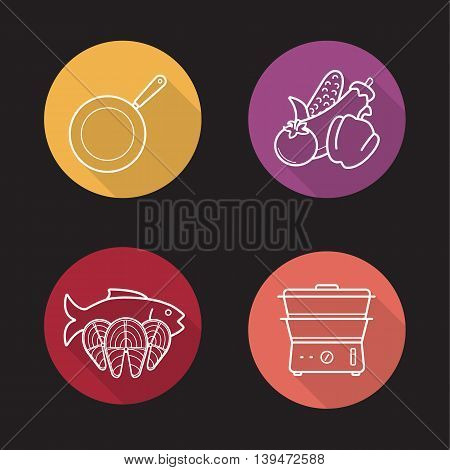 Steam cooking flat linear long shadow icons set. Frying pan, vegetables, fish and steam cooker. Vector line symbols