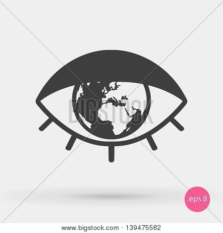 vector icon for TV News channel. Logo for the internet portal of news. Eye Icon and the globe. The icon for the program or applications on the news about world events.