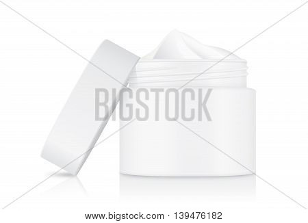 Cream container opaque white color with white cap which opened at side it. showing inside of jar cream.
