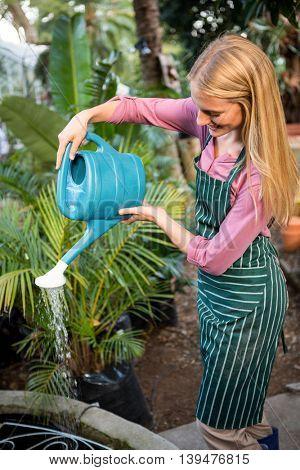 Happy young female gardener watering plants at community garden