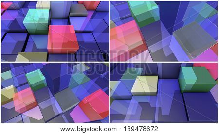 four 3d render backgrounds made of transparent boxes