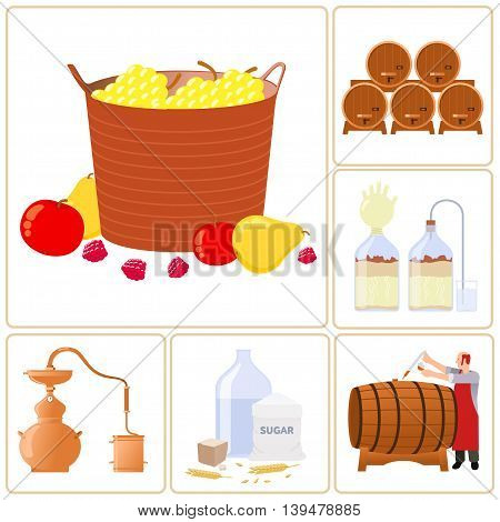 Vector flat icons - production of whiskey, moonshine, alcohol, and vodka. Isolated on a white background.