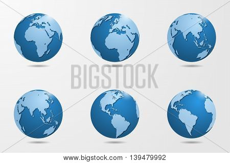Set Of Six High Detailed Vector Globes. Vector Illustration.