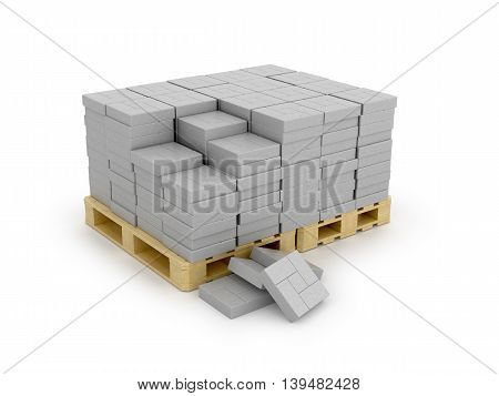 Paving on pallet isolated white background. 3d illustration
