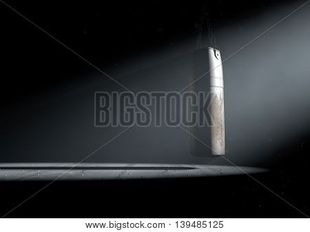 A 3D render of an old worn vintage leather punching bag in a room dark room lit by an ethereal spotlight poster