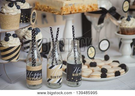 Stylish candy bar for children's birthday. beautiful shoot