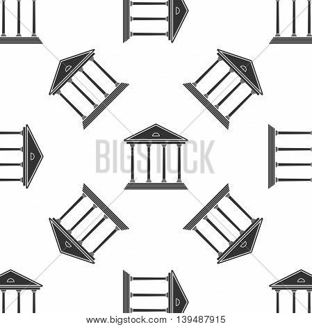 Courthouse icon seamless pattern on white background. Vector Illustration