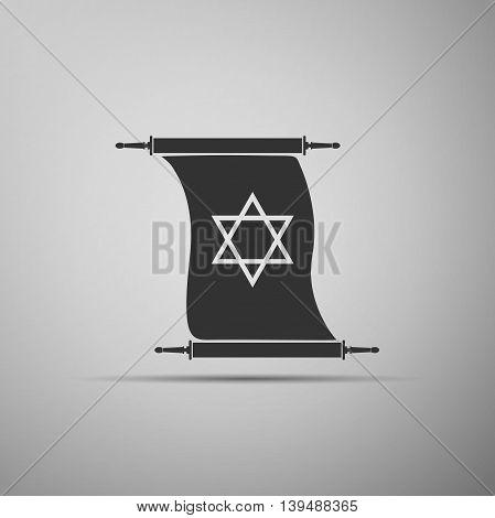 Star of David on scroll icon on grey background. Adobe illustrator