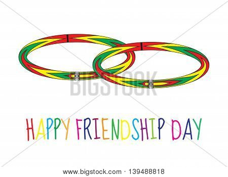 Greeting card with a happy friendship day. Greeting card with a friendship bracelet wristband. Vector illustration