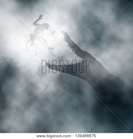 Editable vector illustration of a crocodile hunting a monkey in a misty swamp created using gradient vectors