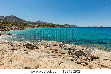 Aquamarine Sea And Rocks At Cala D'olivu Near Ile Rousse In Corsica