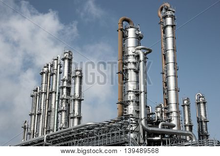 View on a petrochemical industrial plant cooling towers
