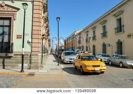 Oaxaca Mexico - November 16 2014: Streets of the beautiful colonial city of Oaxaca are seen on a warm sunny day Mexico