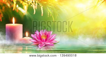 Spa - Serenity And Meditation With Candles And Waterlily In Zen Garden
