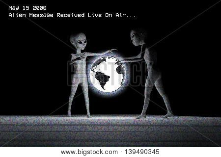 3d illustration of two aliens that watching a planet earth hologram