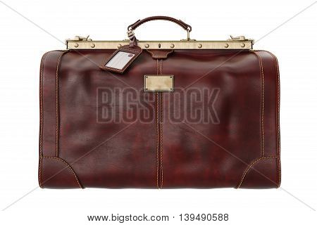 Travel bag classic brown leather, front view. 3D graphic