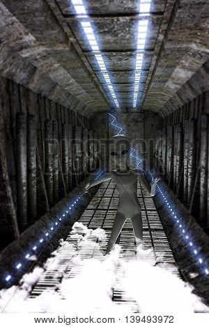 3d illustration of an alien walking in a spaceship corridor