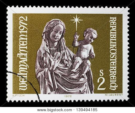ZAGREB, CROATIA - JULY 03: Christmas stamp printed by Austria, shows Virgin and Child, circa 1972, on July 03, 2014, Zagreb, Croatia