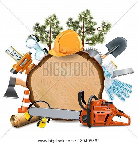 Vector Wooden Board with Chainsaw isolated on white background
