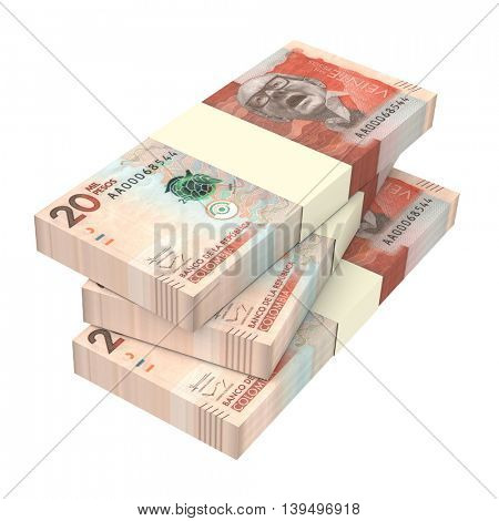 Colombian pesos money isolated on white background. 3D illustration.